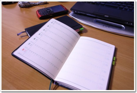 能率手帳とMoleskineの写真