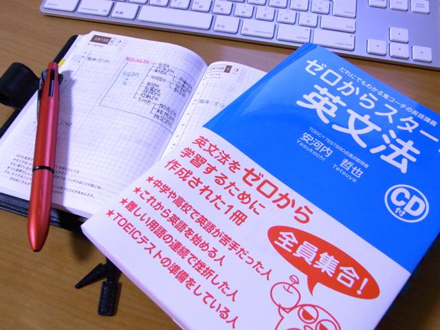 ほぼ日手帳と英語の本の写真